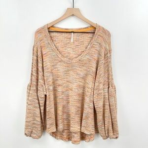 Free People Knit Puff Sleeve Ribbed Top Pullover Sweater Size Small